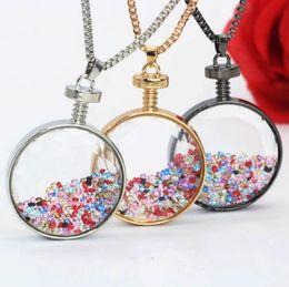 Best Glasses Shape Australia - Square Shape Transparent Glass Necklace Pendants Swan Friendship Jewelry BFF Crystal Bead Round Perfume Bottle Necklace Women Best Friends