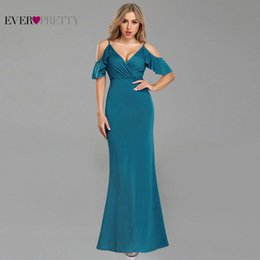$enCountryForm.capitalKeyWord Australia - Teal Prom Dresses Pretty Sexy Off Shoulder A-line Short Sleeve Wedding Guest Dresses with Ruffle 2018 Elegant Gowns T190606