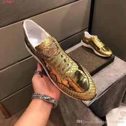 Bags Fish Scale Australia - 2019 Fashion men shoes full of personality Gold quality fish scales Men Chainz Sneakers With Dust Bag