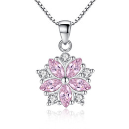 $enCountryForm.capitalKeyWord Australia - Cubic Zirconia Fashion Shiny Crystal Cherry Blossom Ladies' Pendant Necklace Women Box Chain Jewelry Birthday Gift