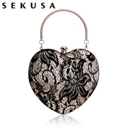 e8deb3d4108 SEKUSA New Arrival Lace Luxurious Women Heart Evening Bags Hollow Out  Design Rhinestones Clutches Chain Shoulder Purse Handbags