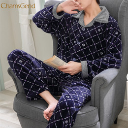 Discount velvet onesies - pajamas Men's Winter flannel plaid printing thickening plus velvet long-sleeved home suit pajamas #1227 A#733