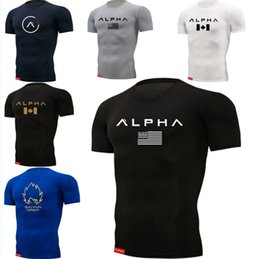 Wholesale tight muscle shirts for sale - Group buy New ALPHA Sport T Shirt Men Summer Wear Gym Fitness Tight Mens Workout T shirt Short Sleeves Slim Fit Cotton Shirts Muscle S XL