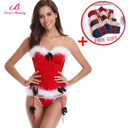 5776b70a318 Lover Beauty Women s Christmas Corset For Christmas Santa Costume 12 Boned  Bustier Overbust Lingerie With Thong G-string