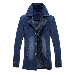 Wholesale jeans blazers for sale - Group buy mens jeans jacket windbreaker denim coat slim fit blazers outerwear overcoat fashion tops plus size clothes m xl black blue
