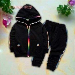 $enCountryForm.capitalKeyWord Australia - Baby Sets 1-4T Kids Cardigan Coats Pants 2Pcs sets Children Sports Sets Rainbow Zipper Long Sleeve Colorful Striped design Summer Suit