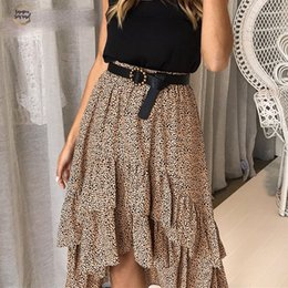 Wholesale skirt woolen high waist resale online - High Skirts Waist Flounce Beach Women Polka Dot Feminino Summer Ruffles Asymmetrical Skirts Elegant Midi Skirt