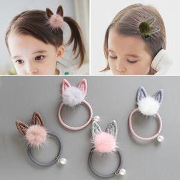 $enCountryForm.capitalKeyWord Australia - Cat Ear Animal 1PC 5 Colors Fuzzy Ball Long Rabbit Ears Pearl Children Hair Rope Hair Clips Elastic Rubber Hair Rope