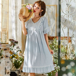 crows bow NZ - M-L ladies summer fashion dress floral lace bow decor crew neck short sleeve women comfortable home wear loose fit dress B33