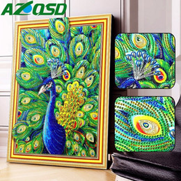 paintings peacocks NZ - wholesale Special Shaped 5D DIY Diamond Painting Animals Picture Of Rhinestones Diamond Mosaic Peacock Decor Home 40x50cm