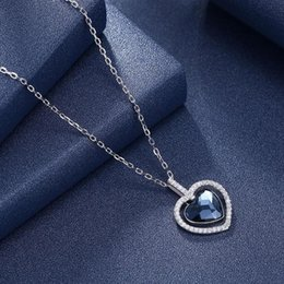 crystal diamond shaped pendant Canada - LEKANI Blue Crystals From Necklace 925 Sterling Silver Diamond Shape Heart Pendant Wedding Jewelry Love Necklace Gifts
