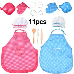 play toys kitchen set gift NZ - Kitchen Toy Kids Chef Set DIY Cooking Baking Suit Toys Set Pretend Play Clothes Apron Gloves Hat Cooker Play Set Gift for Kids