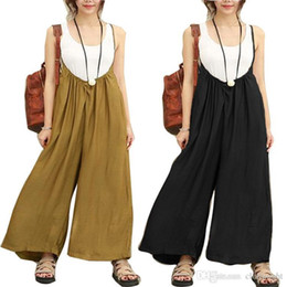 plus size women s jumpsuit NZ - 2018 ZANZEA Women Overalls Wide Leg Pants Vocation Dungarees Casual Cotton Linen Jumpsuits Long Trousers Plus Size S-5XL Rompers