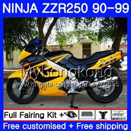 1993 kawasaki fairing online shopping - Bodywork For KAWASAKI NINJA ZZR ZZR250 HM ZZR250R ZZR Yellow black hot Fairings