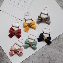 Hair Glitter Elastic Australia - Boutique 30pcs Fashion Glitter Heart Cute Bow Elastic Hair Bands Solid Ribbon Bowknot Hair Tie Rubber Band Princess Headware