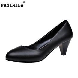 267f59e8aa7a Heel Types NZ - Dress Shoes Fanimila 4 Heel Types Woman Black Color Heels  Summer Round
