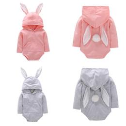 Jumpsuits Rabbit Girl Australia - Baby romper 2 colors 0-18M Kids Boys Girls 100% cotton romper jumpsuit hooded outfits cute Rabbit Ear long sleeve romper baby clothing FJ71