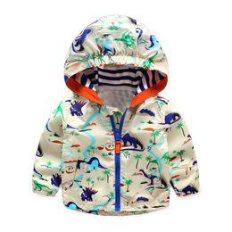 $enCountryForm.capitalKeyWord Australia - Autumn Kids Dinosaur Windbreaker Cute Animal Printed Jacket Boys Outerwear Coats Boys Kids Hooded Children Outfits