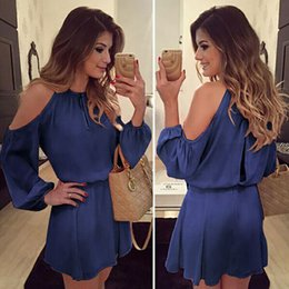 Wholesale Elegant Blue Best Selling New Chiffon Dress Summer Women Sexy Fashion Long Sleeve Casual Solid Color Evening Party Club Trends Dresses