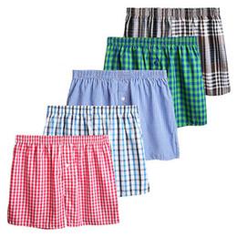 Wholesale men plaid boxer shorts underwear resale online - cueca masculina Fashion Plaid Men s loose boxers Cotton mens underwear high Elastic Breathable Boxer Shorts men underwear