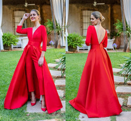 Wholesale pleated sleeves for plus size dress resale online – Red Prom Dresses Jumpsuits Evening Dresses With Long Sleeves Deep V Neck Prom Dresses Pants for Women Custom Made