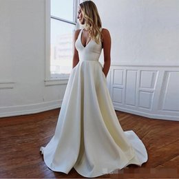 V Back Satin Wedding Dress Australia - Sexy Deep V Neck Wedding Dresses Satin Simple Hollow Back Cross Straps Sleeveless Bow Sweep Train Custom Made Wedding Gown vestido de novia