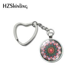 $enCountryForm.capitalKeyWord Australia - New Fashion Hindu Yoga Om Mandala Art for Heart Keychains Sliver Mandala Jewelry Mandala Patterns Car Bag Holder Key Fob