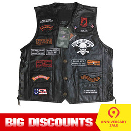 mens leather punk jackets NZ - Motorcycle Jacket Motos Biker Ceket Sheepskin Leather Vest Mens Chaqueta Motoqueiro Punk Retro Jaqueta Casual Moto Vest Clothing