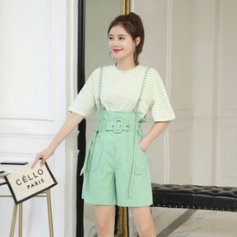 Wholesale Young lady sumer clothes set female loose short sleeve stripe T shirt cotton strap dress overalls twinset women suits sholesale