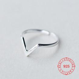 $enCountryForm.capitalKeyWord Australia - Rhodium Plated Minimalist Silver 925 Rings Jewelry Bulk Sterling Silver Rings Dainty V Shape Chevron Ring For Ladies