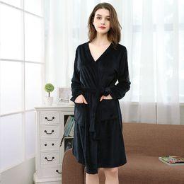 bbe682754b womens velvet bathrobe Cardigan pajamas robe sleepwear 2019 Autumn Winter  plus size nightwear sexy Home suit household black