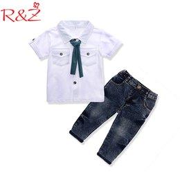 $enCountryForm.capitalKeyWord Australia - R&z Baby Boys Clothes Set 2019 Summer Gentleman Lapel Buttons Leisure T-shirt + Casual Jeans Ins Style Pocket Kids Clothing Suit J190715