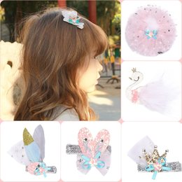 Wholesale Hair Nets NZ - 15 Pcs Children Net Yarn Star Crown Swan Hair Clips Princess Barrettes Hairpins Hair Rope Beautiful HuiLin B134