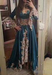 PePlum dresses online shopping - Unique Arabic Dubai Evening Dresses hunter green Long Sleeves Lace Appliques Muslim dubai Prom Dress Sweep Train Beaded Party Gowns