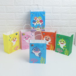 $enCountryForm.capitalKeyWord Australia - Cute Shark Gift Bags Goodie Candy Favor Bags For Children Birthday Party Supplies Dress Up Novelty Decorations for Girls or Boys