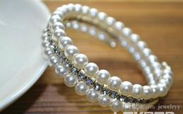 Silver Tennis Bracelet Diamonds Australia - Luxury 3 Layers Crystal Pearl Tennis Bangle Women Girls Crystal Diamond Bracelet Bridal Wedding Bangles For Party Jewelry