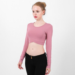 Cropped Tees Australia - Womens Cropped Long Sleeve Yoga Top Sport T-shirt With Thumb Holes Cross Front Workout Tee Running Shirt Autumn Athletic Clothes
