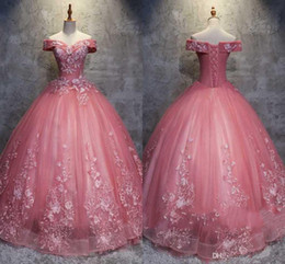 Sexy Apple Australia - Latest Ball Gown Quinceanera Dresses Off-Shoulder Lace Appliques Sexy Back Lace-up Special Occasion Dresses Elegant Prom Dresses