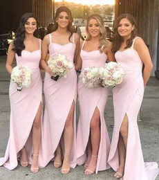 $enCountryForm.capitalKeyWord Australia - 2019 New blush pink Mermaid Bridesmaid Dresses spaghetti sexy split Long Maid of Honor Gowns sweep train Arabic Wedding Guest Dresses