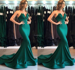 China Unique Design Mermaid Evening Dresses 2019 Strapless Sweep Train Formal Party Prom Gown Modern Special Occasion Dress Hot Vestidos De Fiesta cheap unique ruffle evening gowns suppliers