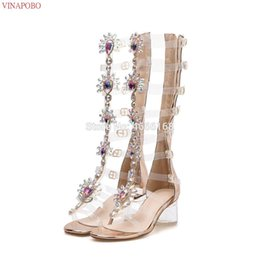 Wholesale 2019 Summer Transparent High Heel Gladiator Sandals Gold Rhinestone Knee High Boots Buckle Strap Woman Crystal Beach Shoes