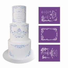 fondant flowers for cakes NZ - Elegant Flower Lace Stencil for Cake Design Fondant Wedding Cake Mesh Stencil Lace Mold Fabric Stencils Decorating Baking Tools