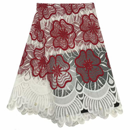 white lace dress for african women Australia - Red White African Lace Fabric 2019 Embroidered Rhinestones Nigerian Lace Fabric Bridal French Tulle Lace Fabric For Women Dress