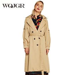 $enCountryForm.capitalKeyWord Australia - WQJGR 2019 Trench Coat for Women Turn-down Collar England Style Windbreaker Coat Long Sleeves Loose Plus Size Parka