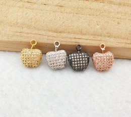 Necklaces Crystal Apple Australia - 10 Pcs Tiny CZ crystal apple shaped Charm pendant CZ zircon Stone Micro pave Pendant Finding DIY necklace women Jewelry PD894