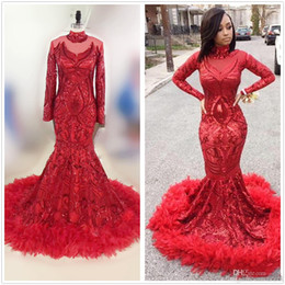 Red Mermaid Dresses Feathers Australia - 2019 Red Mermaid African prom dresses New Feather Long Sleeve Floor Length Sequined High Neck Formal Evening Dress pageant Party Gowns