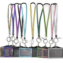 $enCountryForm.capitalKeyWord NZ - Rhinestone Bling Crystal Beads Lanyard with Vertical ID Badge Holder Neck Strap for Cell phone Mobile phone iphone 34 colors can mix colors