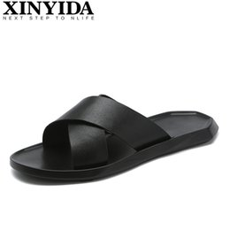 59d59a21 Brand Genuine Leather Slippers Men Summer Flat Sandals Casual Beach Shoes Flip  Flops Summer Outdoor Breathable Slide Size 38-44