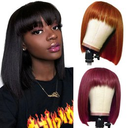Wholesale Ishow Brazilian Ombre Colored Short Bob Wigs Straight Human Hair Wigs with Bangs 4# 30# T1b 27 Peruvian None Lace Wig 99j Orange Ginger for Women All Ages 8-14inch #350