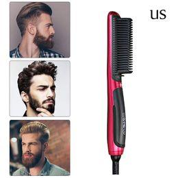 $enCountryForm.capitalKeyWord Australia - Quick Anti-static Beard Straightener Portable Men Fast Beard Smoothing Comb Lcd Display Ceramic Hair Comb Curling Show Cap T190704